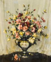 Vernon Ward still life, red, pink and white roses in an antique twin handle