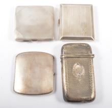 Three silver cigarette case, various engine turned designs, roughly 7.5cm x