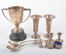 A collection of silverware, a pair of 15.5cm vases with filled bases, hallm