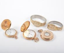 Three gold-plated Elgin pocket watches and two wrist watches, a full hunter