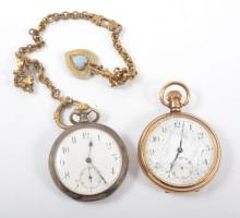 A gold-plated open face pocket watch, a base metal single albert with heart