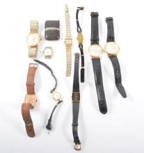 A collection of nine wrist watches and a Movada self winding travel clock,