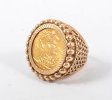 A full sovereign ring, a George V Full Sovereign 1917, set in a 9 carat yel