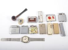 Small selection of vintage lighters, Timex mens wristwatch, foriegn coins a