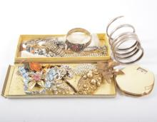 Costume jewellery brooches, paste riviere necklaces, Trifari cat and owl br