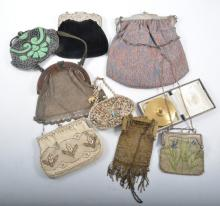 Eight vintage evening bags and a powder compact, chainmail and beaded. a wh