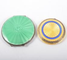 Two silver and guilloche enamel compacts, one with a green enamel cover 65m
