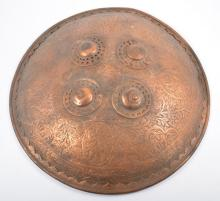 An antique Indian shield, Dhal, all copper construction, 39ms diameter, rel