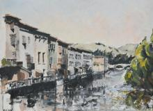 RGW, river scene with buildings, initialled, oil on board, 30cm x 40cm.