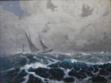 19th Century school, ''Sloop in a fine breeze'', oil on board, 31 x 40cm.