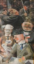 After Otto Dix, German figures, coolur print, 70cm x 38cm.