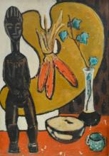 20th century school, Abstract Still life, with tribal figure and artists pa