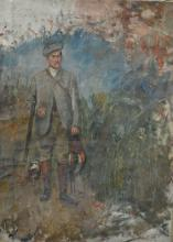 English School, mid 20th century, The Gamekeeper, unfinished oil on canvas,