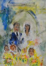 Michael Gibbison (1937-)  Watercolour of a Wedded couple, signed. , 68 x 50