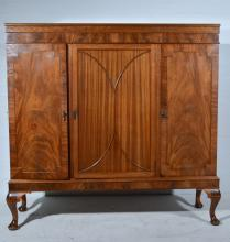 Mahogany side cabinet, central panelled cupboard flanked by further cupboar