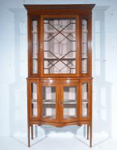 Edwardian mahogany china cabinet, moulded cornice, plain frieze, the upper
