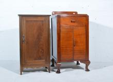 Mahogany pot cupboard, rectangular top, panelled door, splayed legs, width