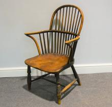 Victorian elm and ash Windsor chair, narrow arms, shaped seat, reduced legs