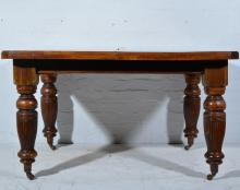 Late Victorian walnut wind-out dining table, rectangular top with moulded e