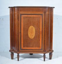 Victorian mahogany corner cupboard, by Edwards & Roberts, satinwood cross-b