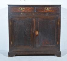 George III oak cupboard, rectangular top, two frieze drawers above a brushi