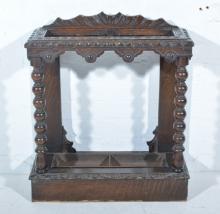 Victorian carved oak stick stand, bobbin turned supports, plinth base, widt