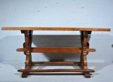 A joined oak kitchen table, rectangular boarded top, X legs joined by rails