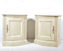 Pair painted pine bedside tables, bowfront, W63cm x D45cm x H78cm.