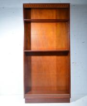Mahogany effect open bookcase by Beresford & Hicks, inlaid frieze above two