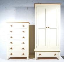 Part painted pine bedroom suite, comprising wardrobe with pair of panel doo