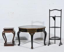 Chinese lacquered occasional table with a shaped circular top, cabriole leg