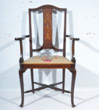 Edwardian inlaid mahogany elbow chair, shaped arms, upholstered seat, cabri