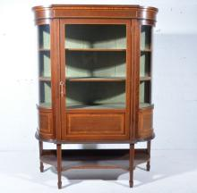 Edwardian inlaid mahogany breakfront display cabinet, cross banding and box