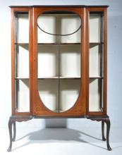 Edwardian inlaid mahogany breakfront display cabinet, central glazed door w