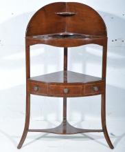 George III mahogany corner washstand, depth 41cm, height 105cm