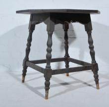 Carved oak octagonal table, shaped apron on turned supports joined by stret
