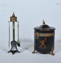 Toll Ware and lacquered coal bucket with a brass urn finial, ring handles a