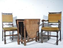 Set of six oak framed dining chairs, backs and seats upholstered in Old Gol