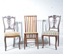 Pair of Edwardian walnut side chairs, carved and pierced backs, 94cm; and a