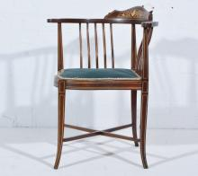 Victorian mahogany corner chair, inlaid with an urn and scrolls, within str
