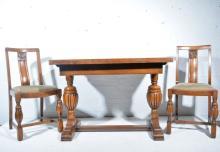 1940s solid oak dining suite, comprising sideboard, W123cm x D48cm x H100cm