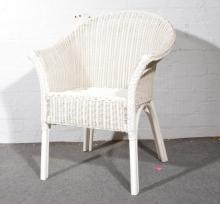 Lloyd loom bedroom chair, painted white, width 65cm.