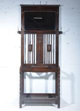 1940s oak hall stand, rectangular bevelled plate, surrounded by five hooks,