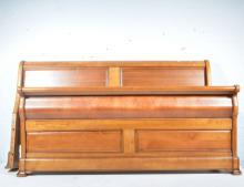 Superking sized sleigh bed, scrolled panelled headboard and footboard, W193