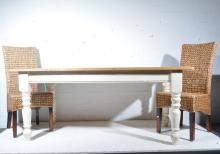 Part painted pine kitchen table, W183cm x D91cm x H77cm, and six Contempora