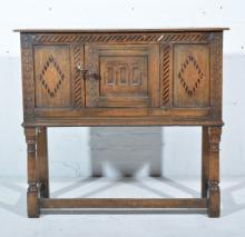 Reproduction oak side table, carved door, parquetry inlay, W92cm x D35cm x