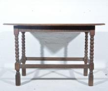 Joined oak sidetable, rectangular boarded top, bobbin turned legs, joined b