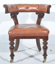Victorian carved mahogany club style chair, buttoned leather curved back ra