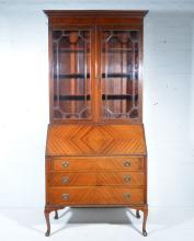 Edwardian mahogany bureau bookcase, moulded cornice, above glazed doors enc