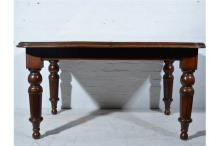 Victorian mahogany wind-out dining table, rectangular top with rounded corn
